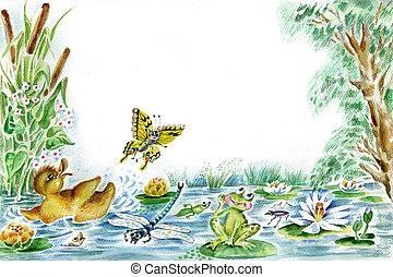 Butterfly, duckling and frog are playing together on the...