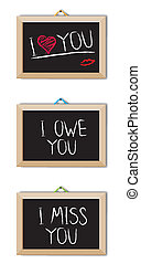 Message chalk board - I love You - Message chalk board with...