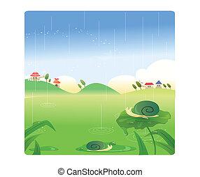 village scenery in the rain