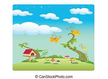 village landscape illustration