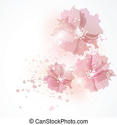 Bright background with tea-roses - Background with flowers