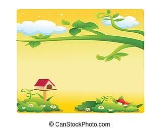 beautiful landscape cartoon