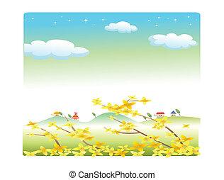 summer landscape with flowers cartoon