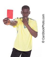africano, árbitro, mostrando, a, vermelho,...