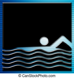 swiming - black silhouette of man swiming on waves