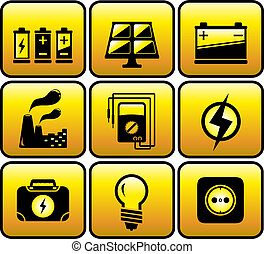industrial and electrical objects - set glossy icon with...