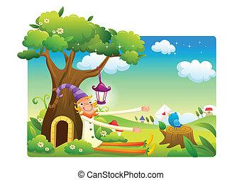 clown cartoon at the garden - funny clown cartoon at the...