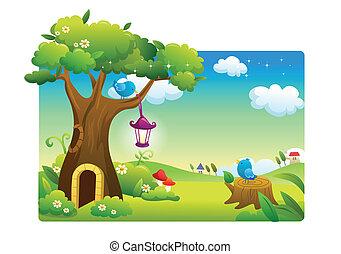 landscape beautiful and birds cartoon