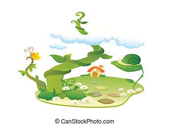 beautiful landscape illustration - beautiful landscape...