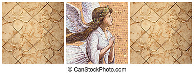 pattern with angelic mosaic and flowers