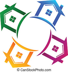 Real estate 4 houses logo - Vector real estate 4 houses icon