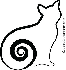 Cat with swirly tail logo - Cat with swirly tail vector...
