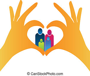 Family with heart hands shape logo - Vector illustration of...