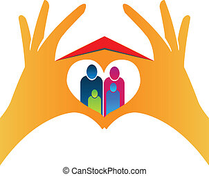 Family and hand house of love background