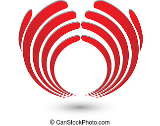 Abstract hands logo - Vector of red abstract hands