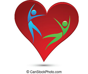 Healthy heart logo vector illustration