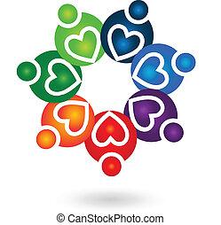 Trabalho equipe, solidariedade, pessoas, logotipo