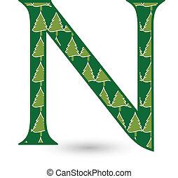 Letter N Christmas tree