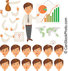 Businessman. Face and body elements - Businessman. Parts of...