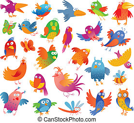 Funny colorful birdies Vector illustration Isolated on white...