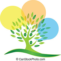 Tree people and speech bubbles logo - Tree people and speech...