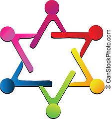 Teamwork people union logo - Teamwork people union star...