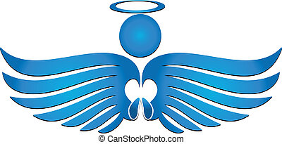 Angel pray - Blue angel praying logo vector