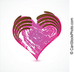 Hands and grunge pink heart logo