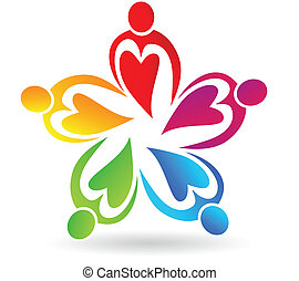 Teamwork hearts people logo