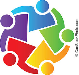Teamwork business people logo - Vector of teamwork business...