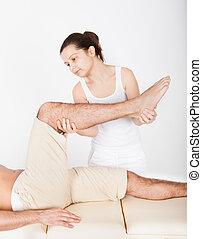 piede, donna, massaggio, uomo