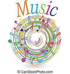 Abstract design background with colorful music notes retro