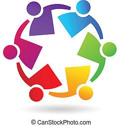 trabajo en equipo, fiesta, gente, logotipo