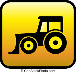 glossy tractor icon - yellow glossy button with bulldozer or...