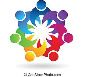 Teamwork holding hands logo - Teamwork holding hands symbol...