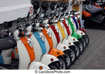 Scooters - A colorful lineup of retro scooters.