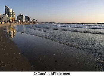 Tel Aviv Beach - Sunset over the Mediterranean, along the...