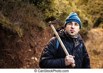 Psycho - a lumberjack or a psychopath holding a rusty...