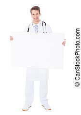 Male Doctor Holding Placard - Young Male Doctor Holding...