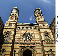 Budapest Synagogue - The exterior of the Great Synagogue,...
