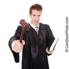 Frustrated Judge With Gavel And Book