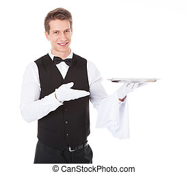Waiter With Cloche Lid Cover - Young Male Waiter Standing...