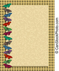 Butterfly border rustic colors - Image and illustration...