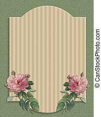 Wedding invitation vintage roses