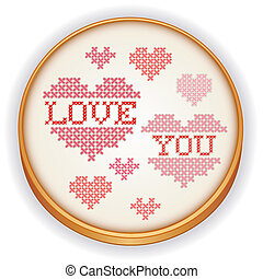 Love You Embroidery on Wood Hoop - Retro wood embroidery...