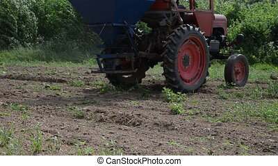 machine seed sow field - Follow old tractor seeder equipment...