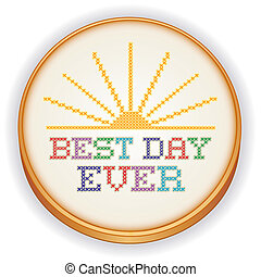 Embroidery, Best Day Cross Stitch - Retro wood embroidery...