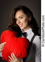 Girl with Heart-Shaped Pillow