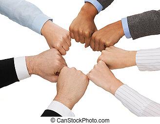 Primer plano, businesspeople, Manos, puños,...