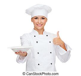femininas, cozinheiro, vazio, prato, mostrando, polegares,...